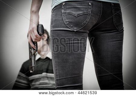 Woman Killing Man. Home Violence Concept