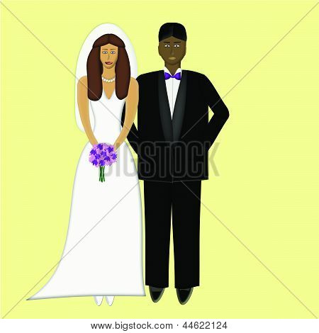 Caucasian Bride with African Groom