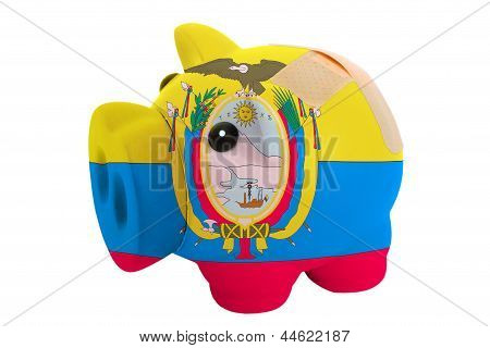 Closed Piggy Rich Bank With Bandage In Colors National Flag Of Ecuador