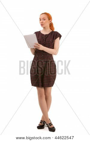 Young Woman Standing Writing