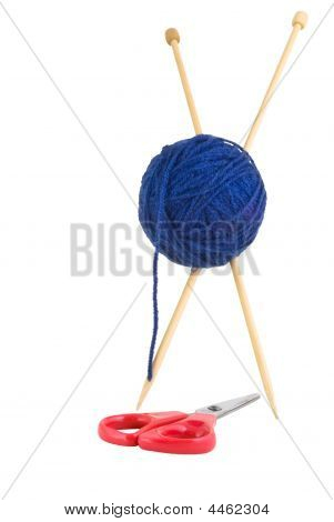 Knitting Needles Wool And Scissors