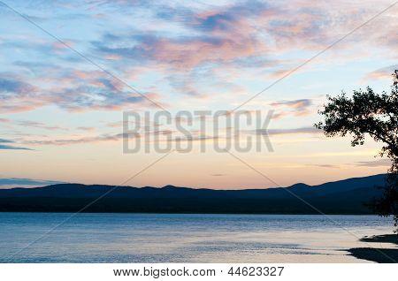 Amur river sunset