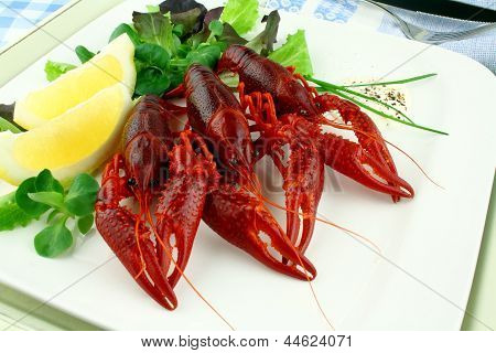 Boiled Crayfish With Lettuce, Lemon And Cutlery