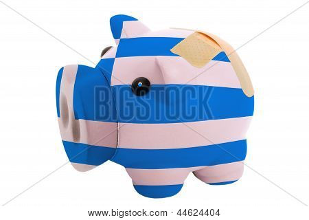 Closed Piggy Rich Bank With Bandage In Colors National Flag Of Greece