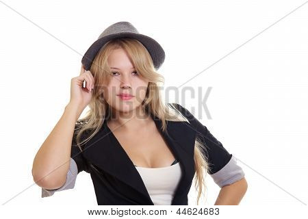 Young Blond Woman In Hat And Jacket