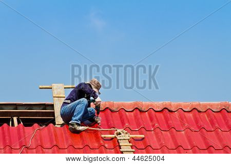 Workers were repairing the roof