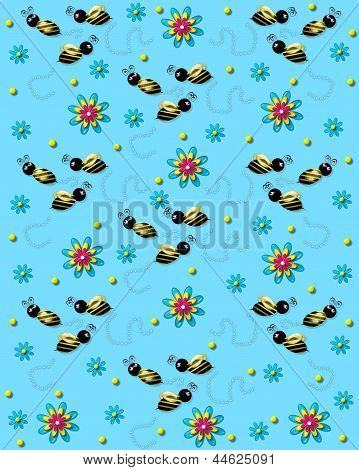 Bees On The Buzz On Soft Blue
