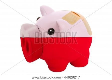 Closed Piggy Rich Bank With Bandage In Colors National Flag Of Poland