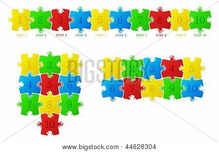 Construction of the puzzle on a white background