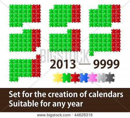 Set for creation of calendars