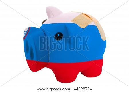 Closed Piggy Rich Bank With Bandage In Colors National Flag Of Slovenia