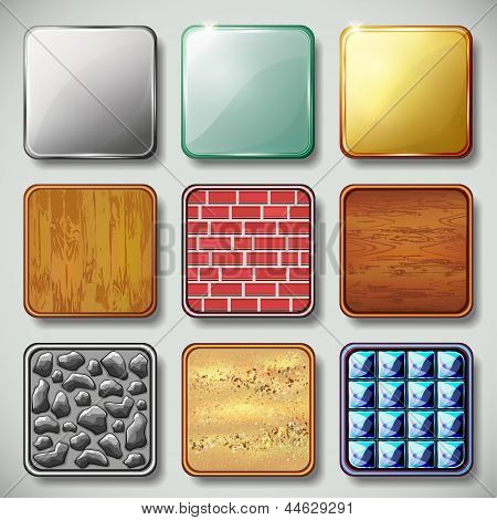 Set Of Different Textured Apps Icons Vector