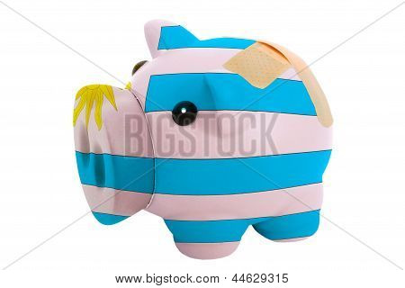 Closed Piggy Rich Bank With Bandage In Colors National Flag Of Uruguay