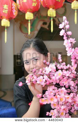 Asian Girl With Chinese Lampion And Sakura Flower