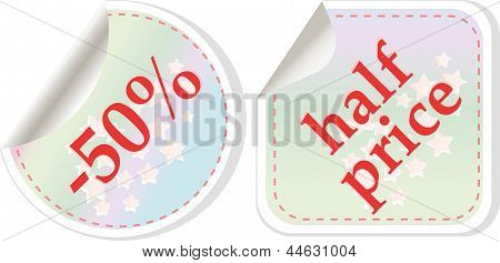 Half Price Sale Stickers Set