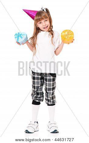 Girl in birthday cap
