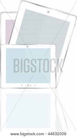 High-detailed Black Tablet Pc On White Background, art illustration