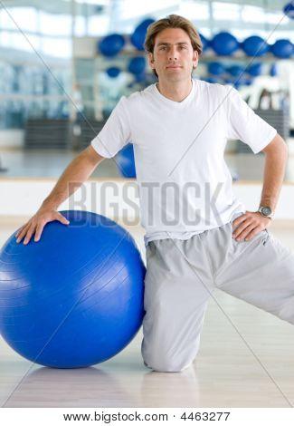 Gym Man Doing Pilates