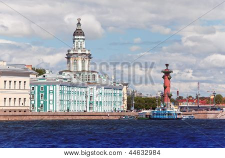 Russia. Petersburg. Spit of Vasilevsky Island. Rostral column and cabinet of curiosities