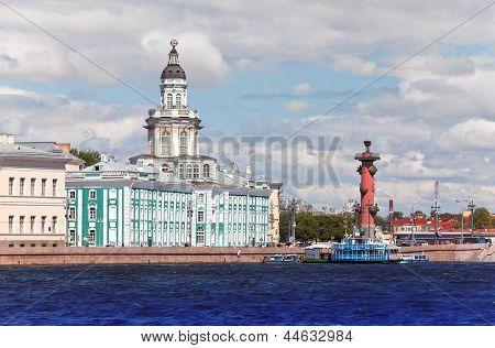 Russia. Petersburg. Spit of Vasilevsky Island. Rostral column and cabinet of curiosities