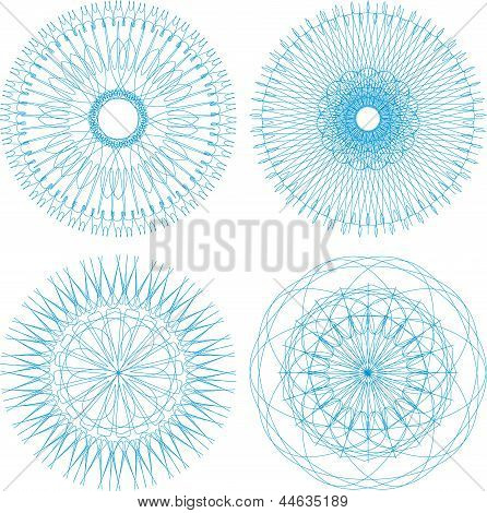 Set Of Four Guilloche Rosette, art illustration, art illustration
