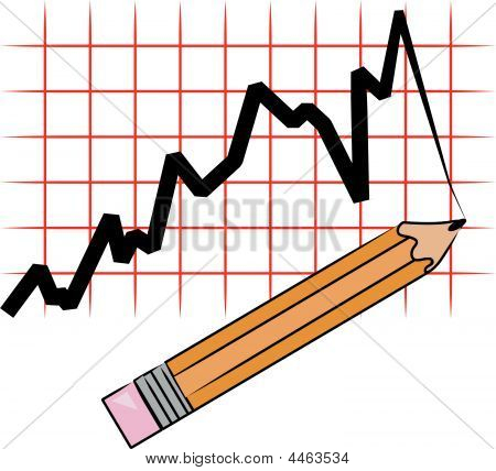 Pencil With Line Graph And Grid