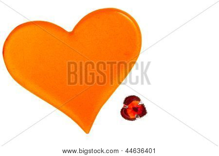 Large Orange Plastic Heart And Small Red Glass Heart