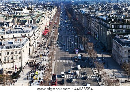 Above View Of Avenues Des Champs Elysees In Paris