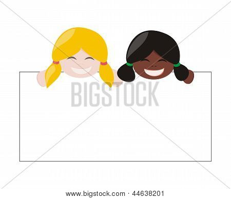 Multicultural girls holding white empty banner. Blond and black hair hostess smiling and showing add
