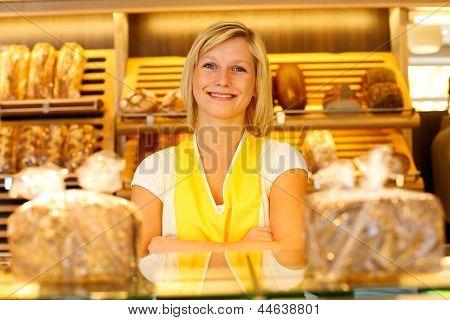 Bakery Shopkeeper Posing In Shop