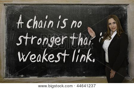 Teacher Showing A Chain Is No Stronger Than Its Weakest Link On Blackboard
