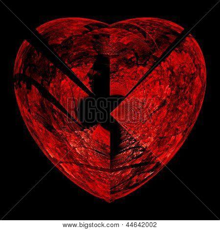 Broken red heart on black.