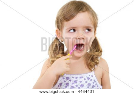 Little Girl Washing Teeth