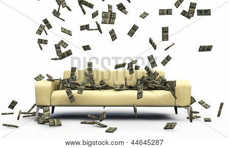 Falling Dollars On A Sofa
