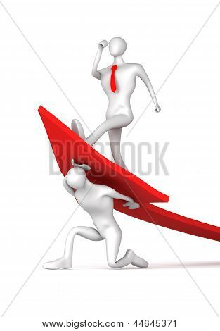 3d man turning the arrow on the upside and man who is climbing up the arrow