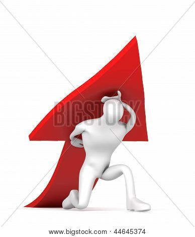 3D Man Holding a Red Arrow on His Back