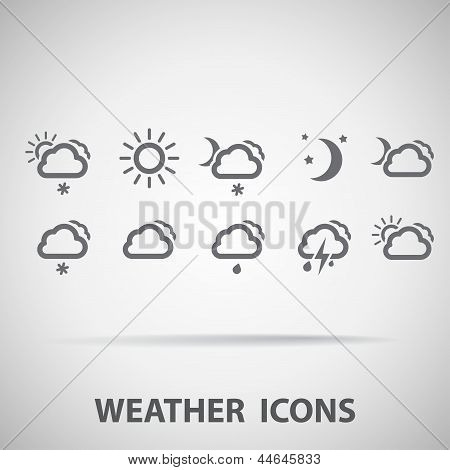 Set of weather icons - silhouette