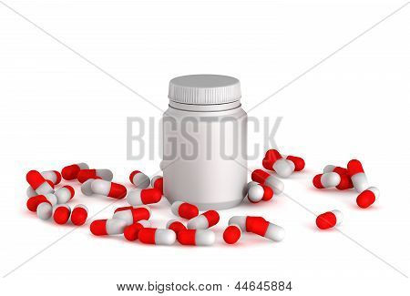 3D Medical Pills With Bottle On A White Background