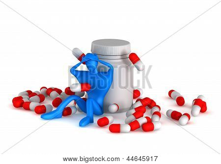 3D Person With Headache, Pills And Bottle