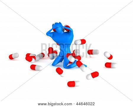 3D Unhealthy Man With Spills On A White Background