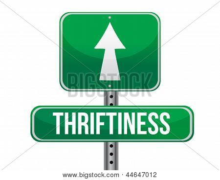 Thriftiness Road Sign Illustration Design