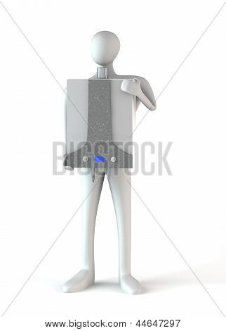 Person With Gas Boiler Isolated Over White