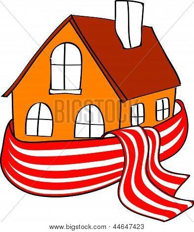 Casa envuelto en un pañuelo pelado sobre un fondo blanco