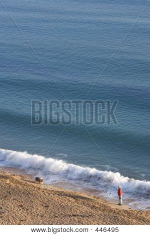 Man Walking His Dog Along Weymouth Beach In The Sun