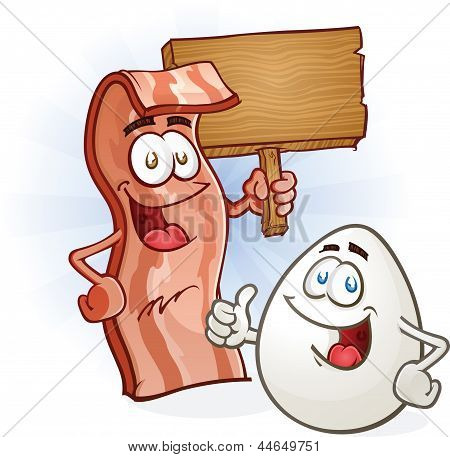 Bacon And Egg Breakfast Cartoon Characters