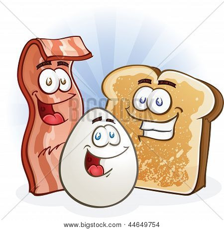 Bacon, Egg and Toast Cartoon Breakfast Characters
