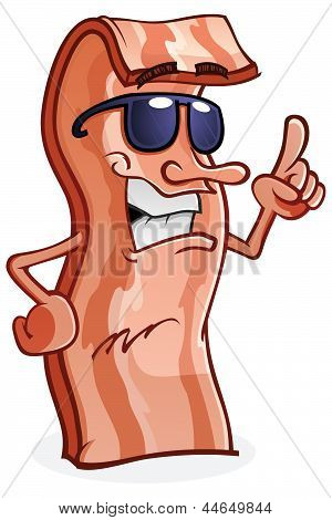 Bacon Cartoon Character Wearing Sunglasses and Pointing