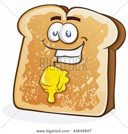 Buttered Toast Cartoon Character