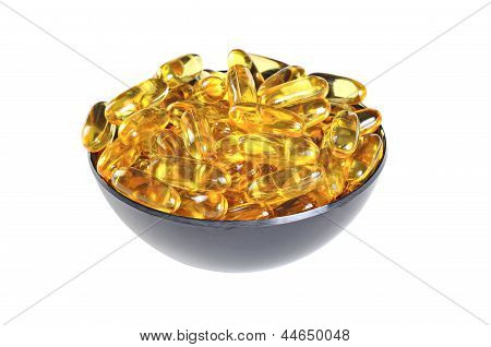 Bowl With Omega 3 (fish Oil) Pills, Isolated On White Background