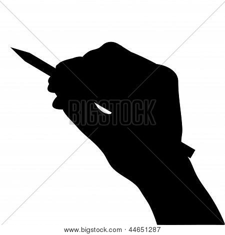 Hand Hold Pencil Silhouette